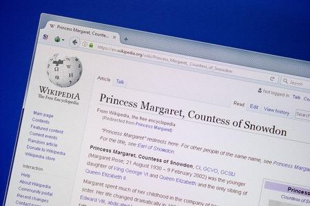 Ryazan, Russia - July 09, 2018: Page on Wikipedia about Princess Margaret, Countess of Snowdon