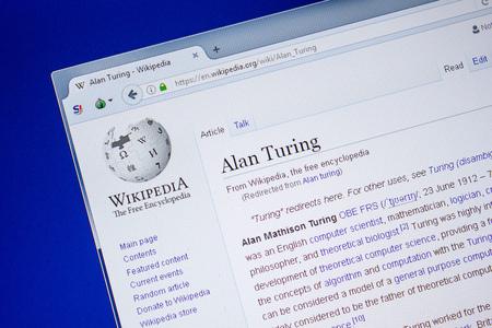 Ryazan, Russia - July 09, 2018: Page on Wikipedia about Alan Turing