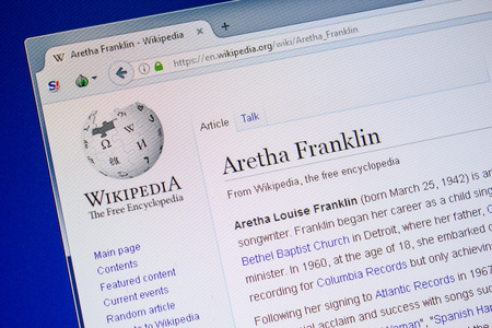 Ryazan, Russia - July 09, 2018: Page on Wikipedia about Aretha Franklin Редакционное