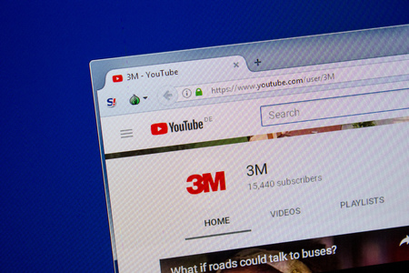 Ryazan, Russia - July 11, 2018: Youtube of 3M website on the display of PC