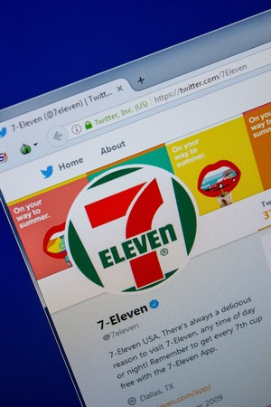 Ryazan, Russia - July 11, 2018: Twitter of 7 Eleven website on the display of PC
