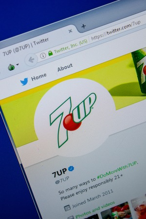 Ryazan, Russia - July 11, 2018: Twitter of 7UP website on the display of PC