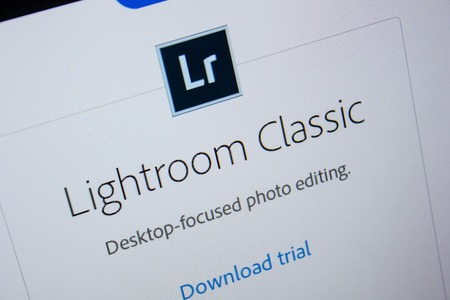 Ryazan, Russia - July 11, 2018: Adobe Lightroom Classic, software logo on the official website of Adobe