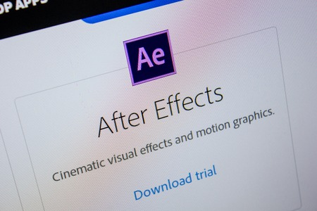 Ryazan, Russia - July 11, 2018: Adobe After Effects, software logo on the official website of Adobe