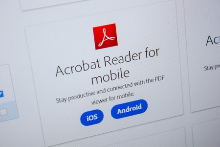 Ryazan, Russia - July 11, 2018: Adobe Acrobat Reader for mobile, software logo on the official website of Adobe 報道画像