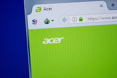 Ryazan, Russia - July 11, 2018: Acer.com website on the display of PC