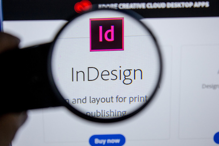 Ryazan, Russia - July 11, 2018: Adobe InDesign, software logo on the official website of Adobe