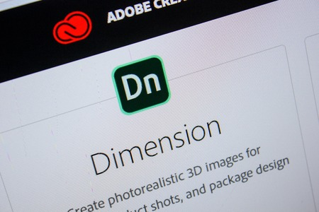 Ryazan, Russia - July 11, 2018: Adobe Dimension, software logo on the official website of Adobe Editorial