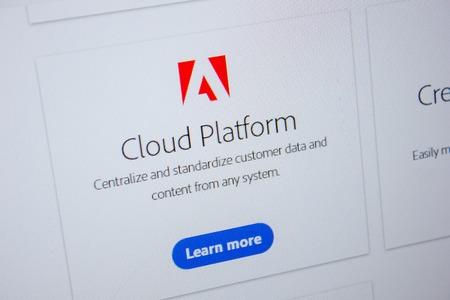 Ryazan, Russia - July 11, 2018: Adobe Cloud Platform, software logo on the official website of Adobe