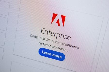 Ryazan, Russia - July 11, 2018: Adobe Enterprise, software logo on the official website of Adobe