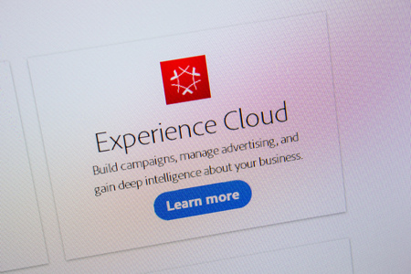 Ryazan, Russia - July 11, 2018: Adobe Experience Cloud, software logo on the official website of Adobe Editorial