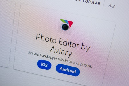 Ryazan, Russia - July 11, 2018: Adobe Photo Editor by Aviary, software logo on the official website of Adobe