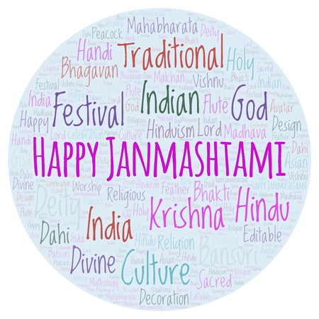 Happy Janmashtami round word cloud. Wordcloud made from letters and words only.