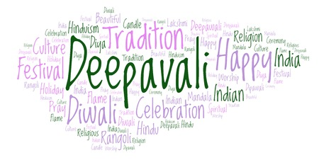 Deepavali word cloud. Wordcloud made from letters and words only.
