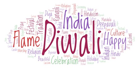 Diwali word cloud. Wordcloud made from letters and words only.