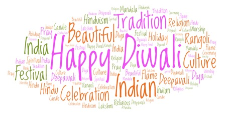 Happy Diwali word cloud. Wordcloud made from letters and words only.