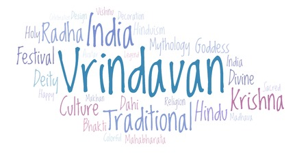 Vrindavan word cloud. Wordcloud made from letters and words only. Stock Photo