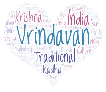 Vrindavan in heart shape  Wordcloud made from letters and words only.