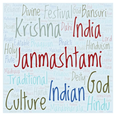 Janmashtami   word cloud. Wordcloud made from letters and words only.
