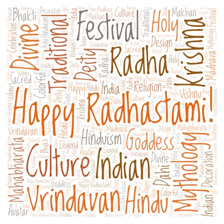 Happy Radhastami in square shape word cloud. Wordcloud made from letters and words only.