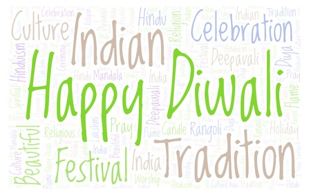 Happy Diwali Horizontal word cloud. Wordcloud made from letters and words only.