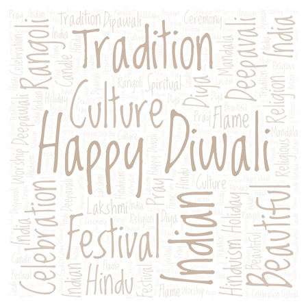 Happy Diwali in square shape word cloud. Wordcloud made from letters and words only. Stock Photo