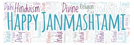 Happy Janmashtami in banner form   word cloud. Wordcloud made from letters and words only.