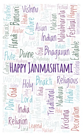 Happy Janmashtami in rectangle shape word cloud. Wordcloud made from letters and words only.