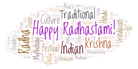 Happy Radhastami   word cloud. Wordcloud made from letters and words only.