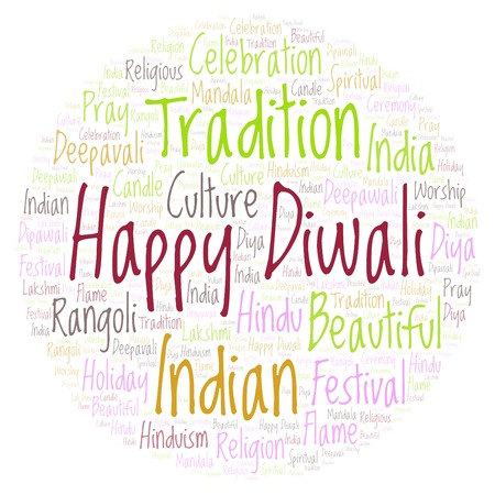 Happy Diwali in circle shape word cloud. Wordcloud made from letters and words only.