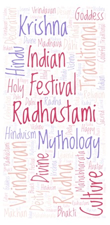 Radhastami vertical in banner form word cloud. Wordcloud made from letters and words only.