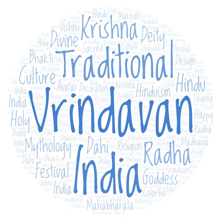 Vrindavan in circle shape  Wordcloud made from letters and words only.