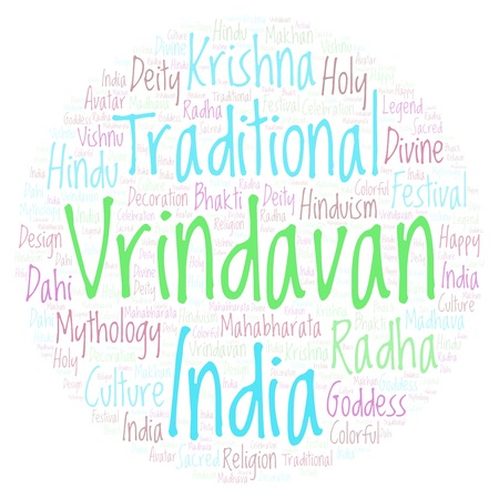 Vrindavan in circle shape word cloud. Wordcloud made from letters and words only. Stock Photo