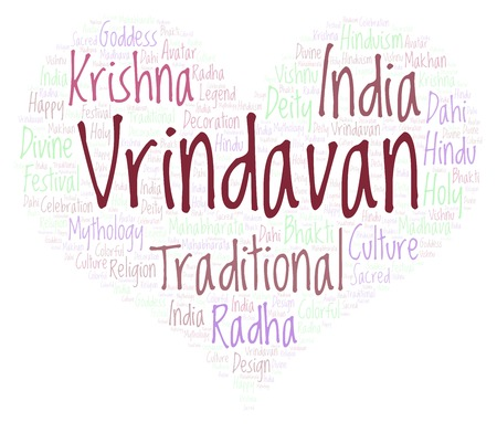 Vrindavan in heart shape  Wordcloud made from letters and words only. Stock Photo - 106919474