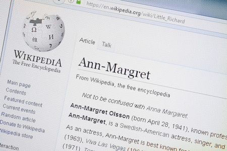 Ryazan, Russia - August 19, 2018: Wikipedia page about Ann-Margret on the display of PC