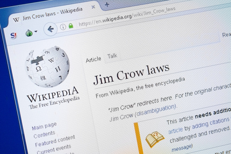 Ryazan, Russia - August 19, 2018: Wikipedia page about Jim Crow laws on the display of PC 報道画像