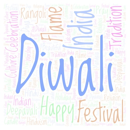Diwali in square shape word cloud. Wordcloud made from letters and words only.