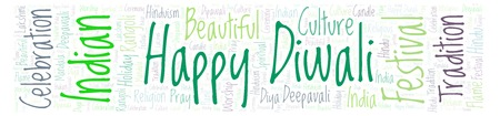 Happy Diwali in banner form word cloud. Wordcloud made from letters and words only.