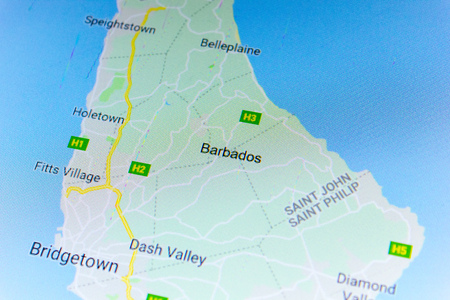 Ryazan, Russia - July 08, 2018: Country of Barbados on the google maps service