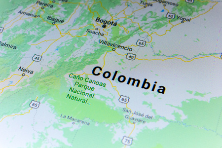 Ryazan, Russia - July 08, 2018: Country of Colombia on the google maps service