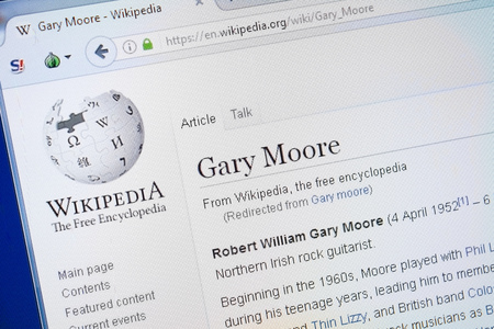 Ryazan, Russia - August 19, 2018: Wikipedia page about Gary Moore on the display of PC