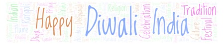 Diwali in banner form word cloud. Wordcloud made from letters and words only. Stock Photo