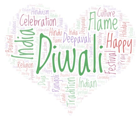 Diwali in heart shape word cloud. Wordcloud made from letters and words only. Stock Photo