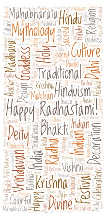 Happy Radhastami vertical in banner form word cloud. Wordcloud made from letters and words only. Stock Photo