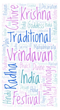 Vrindavan in rectangle shape  Wordcloud made from letters and words only.