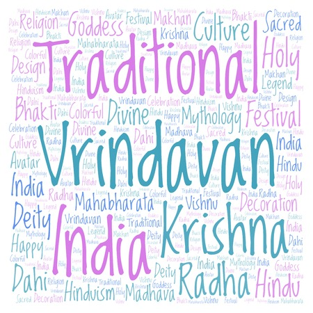 Vrindavan in square shape  Wordcloud made from letters and words only.