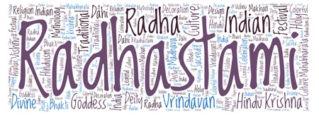Radhastami horizontal in banner form word cloud. Wordcloud made from letters and words only.