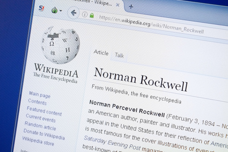 Ryazan, Russia - August 19, 2018: Wikipedia page about Norman Rockwell on the display of PC Editorial