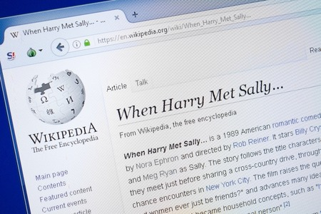 Ryazan, Russia - August 19, 2018: Wikipedia page about When Harry Met Sally on the display of PC