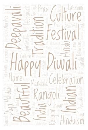 Happy Diwali Vertical word cloud. Wordcloud made from letters and words only.